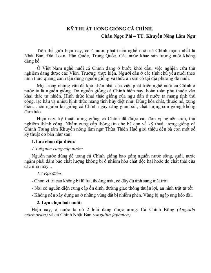 KỸ THUẬT ƯƠNG GIỐNG CÁ CHÌNH.                                         Châu Ngọc Phi – TT. Khuyến Nông Lâm Ngư      Trên th...