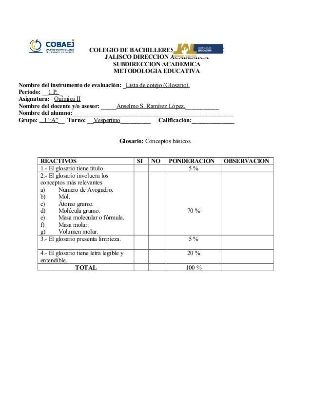 Lista de Cotejo (glosario estequiometria)