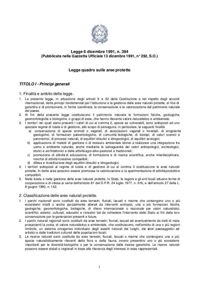 Ambiente - Legge quadro sulle aree protette