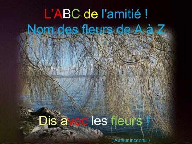 L'ABC de l'amitié ! Nom des fleurs de A à Z ( Auteur inconnu ) Dis avec les fleurs !