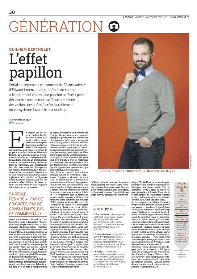 L'effet Papillon - Portrait dans La Tribune du 13.12.2013