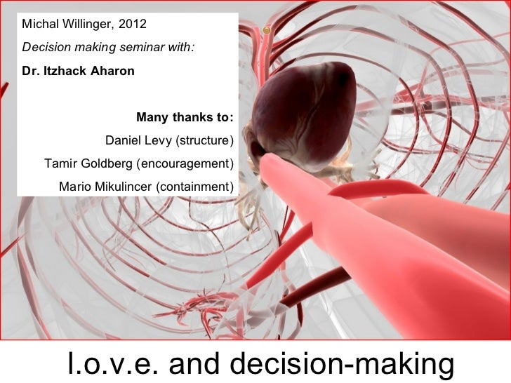 Michal Willinger, 2012Decision making seminar with:Dr. Itzhack Aharon                     Many thanks to:              Dan...