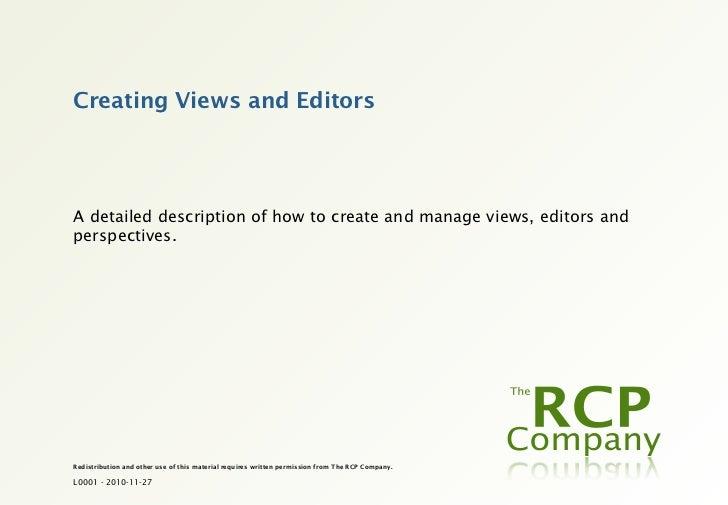 L0036 - Creating Views and Editors