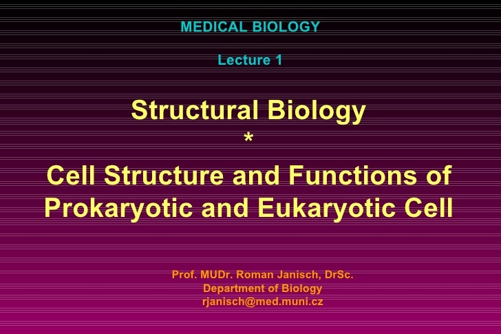 MEDICAL BIOLOGY Lecture 1 Prof. MUDr. Roman Janisch, DrSc. Department of Biology [email_address] Structural Biology * Cell...