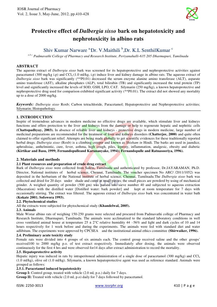 IOSR Journal of PharmacyVol. 2, Issue 3, May-June, 2012, pp.410-428           Protective effect of Dalbergia sisso bark on...