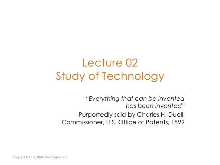 New Technology Lecture 02 Study of Technology