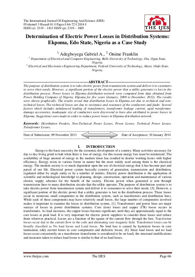 The International Journal Of Engineering And Science (IJES)   Volume   3   Issue   01    Pages    66-72    2014    ISSN (e...