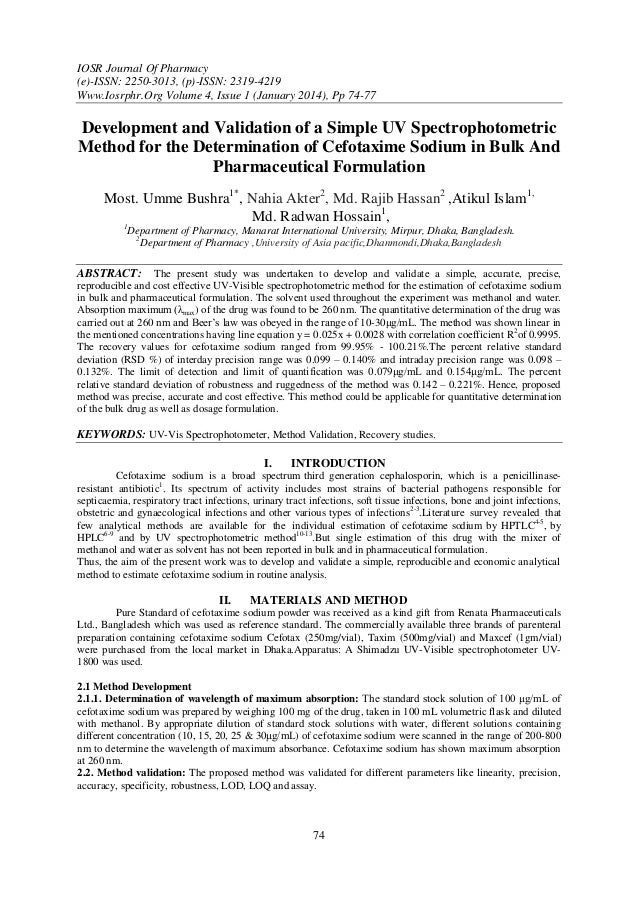 IOSR Journal Of Pharmacy (e)-ISSN: 2250-3013, (p)-ISSN: 2319-4219 Www.Iosrphr.Org Volume 4, Issue 1 (January 2014), Pp 74-...