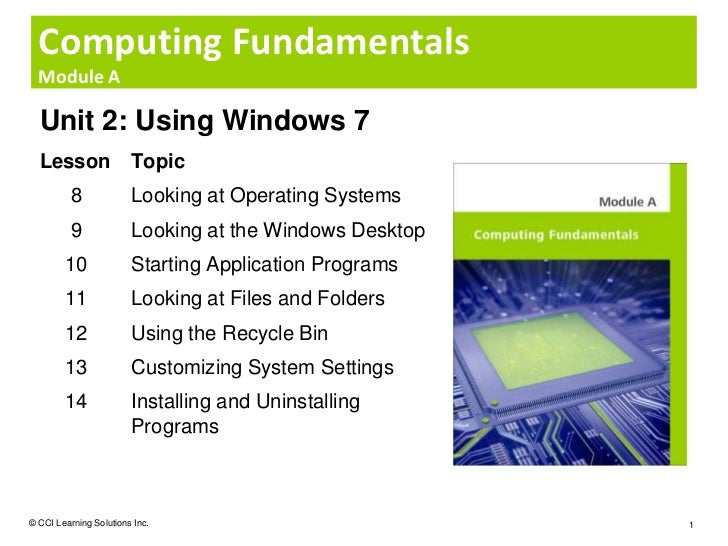 Computing Fundamentals  Module A  Unit 2: Using Windows 7  Lesson                Topic          8             Looking at O...