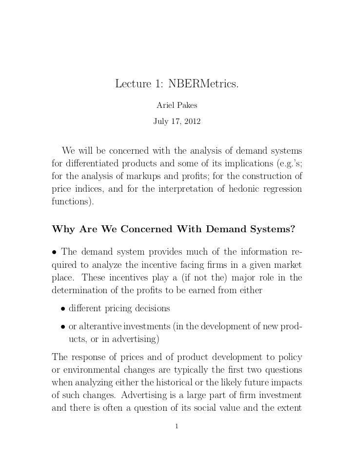 Lecture 1: NBERMetrics