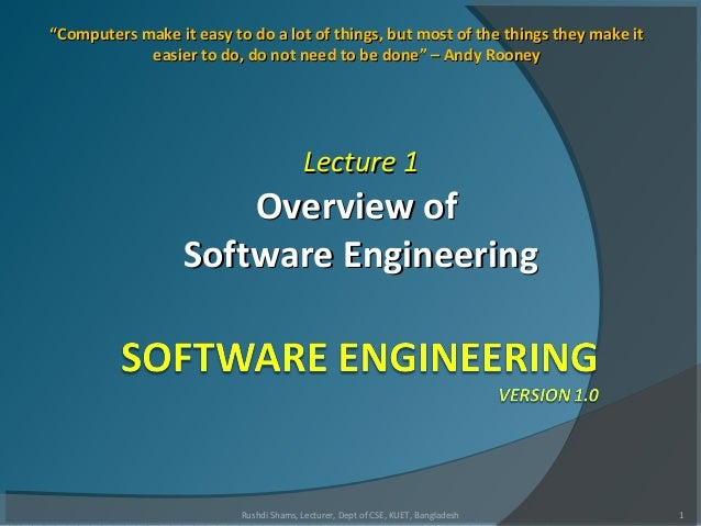 L1  overview of software engineering