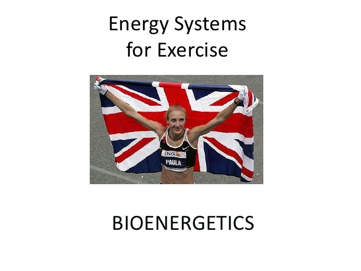 Energy Systemsfor Exercise<br />BIOENERGETICS<br />