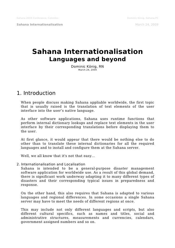 Remarks: Sahana Internationalisation Languages and beyond