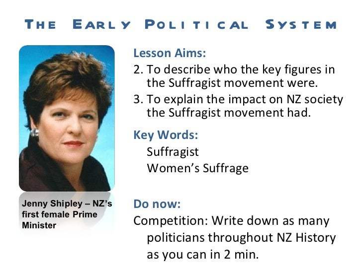 The Early Political System <ul><li>Lesson Aims: </li></ul><ul><li>To describe who the key figures in the Suffragist moveme...