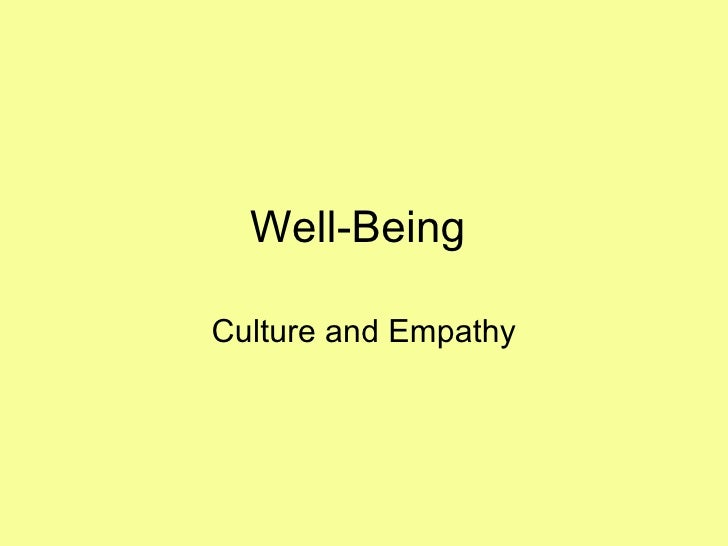 Well-Being  Culture and Empathy