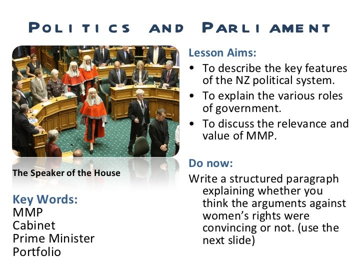 Politics and Parliament <ul><li>Lesson Aims: </li></ul><ul><li>To describe the key features of the NZ political system. </...