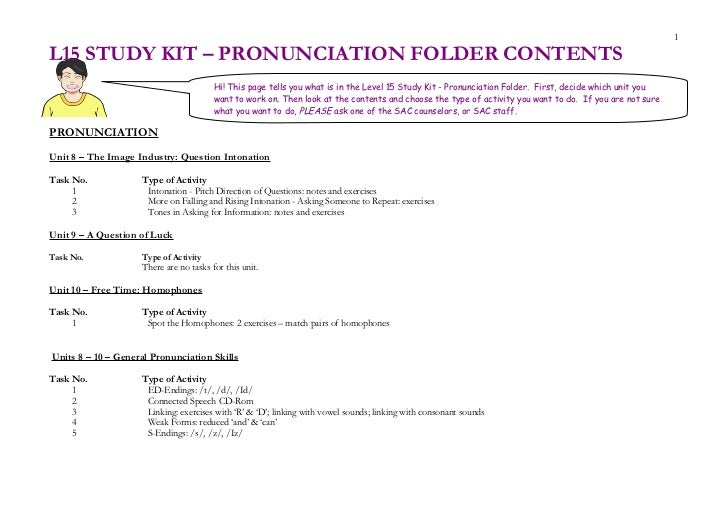 1L15 STUDY KIT – PRONUNCIATION FOLDER CONTENTS                                        Hi! This page tells you what is in t...