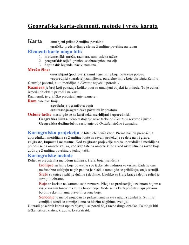 Geografska karta-elementi, metode i vrste karataKarta          -umanjeni prikaz Zemljine površine               -grafičko ...