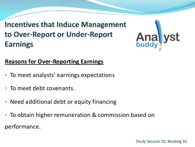Reasons for Over-Reporting Earnings• To meet analysts' earnings expectations• To meet debt covenants.• Need additional deb...