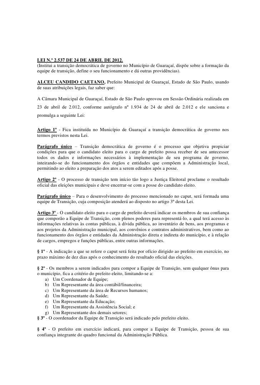 Lei 2.537 Transição de Governo_Guaraçaí
