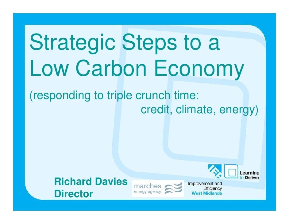 Strategic Steps to a Low Carbon Economy (responding to triple crunch time:                        credit, climate, energy)...