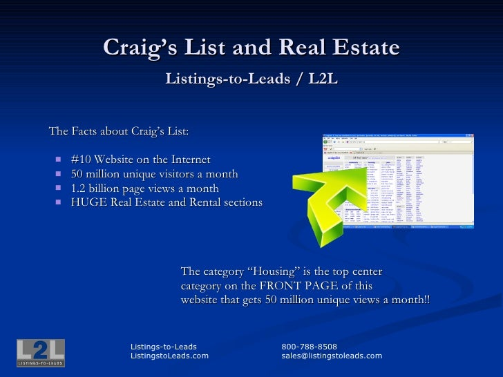Craig's List and Real Estate                         Listings-to-Leads / L2L   The Facts about Craig's List:      #10 Web...