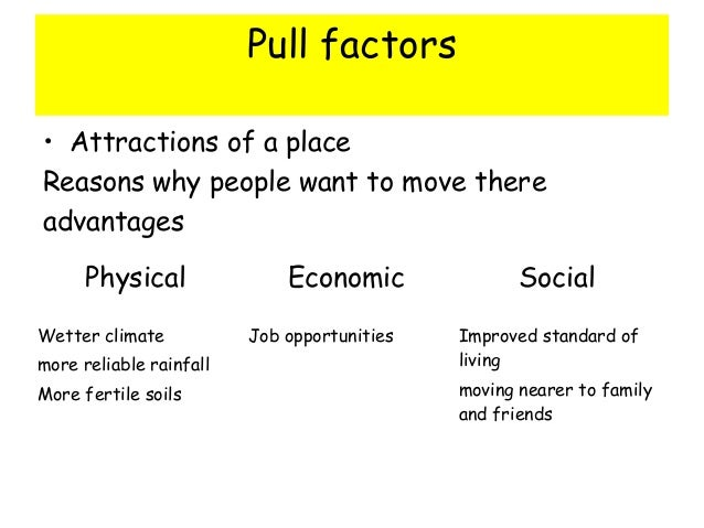 ìpush and pull factors of immigrations essay 2018-8-10 the complex push and pull factors driving child and family migration from central america to the united states have changed little since the 2014 crisis despite some fluctuation in arrival numbers, recent trends suggest the characteristics of an enduring phenomenon.