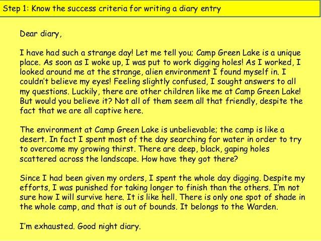 Diary examples KS1