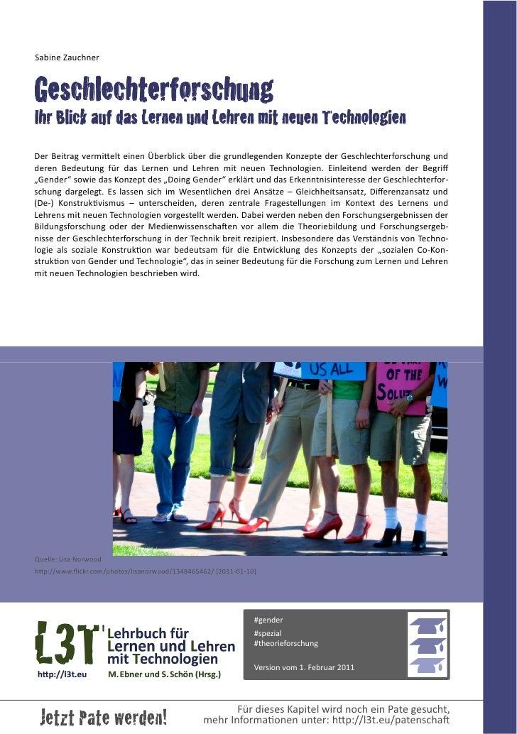 Sabine ZauchnerGeschlechterforschungIhr Blick auf das Lernen und Lehren mit neuen TechnologienDer Beitrag vermiEelt...