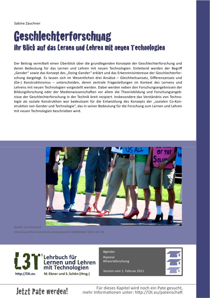Geschlechterforschung - Ihr Blick auf das Lernen und Lehren mit neuen Technologien