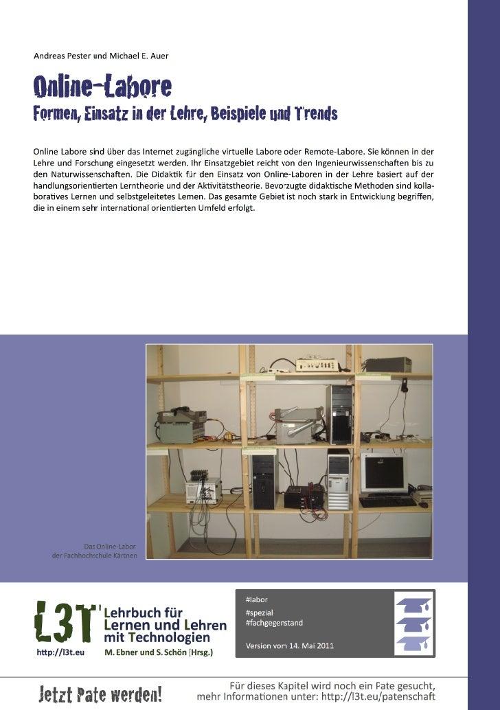 Andreas Pester und Michael E. AuerOnline-LaboreFormen, Einsatz in der Lehre, Beispiele und TrendsOnline Labore...