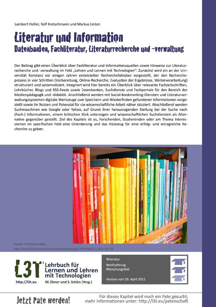 Literatur und Information - Datenbanken, Fachliteratur, Literaturrecherche und -verwaltung
