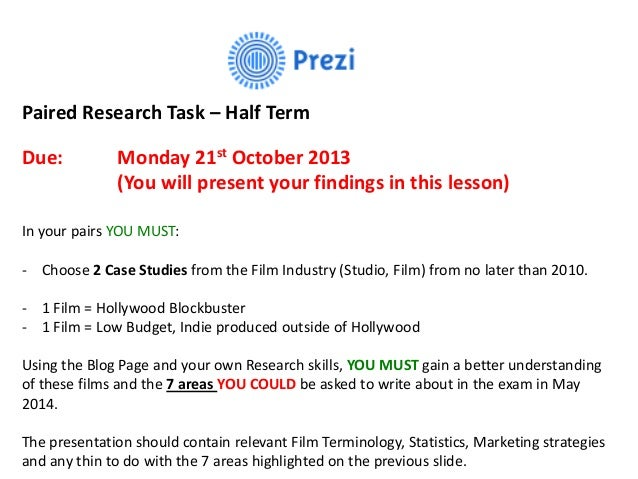 Paired Research Task – Half Term Due:  Monday 21st October 2013 (You will present your findings in this lesson)  In your p...