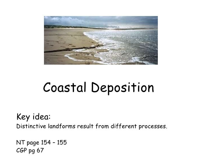 Coastal Deposition Key idea: Distinctive landforms result from different processes. NT page 154 – 155 CGP pg 67