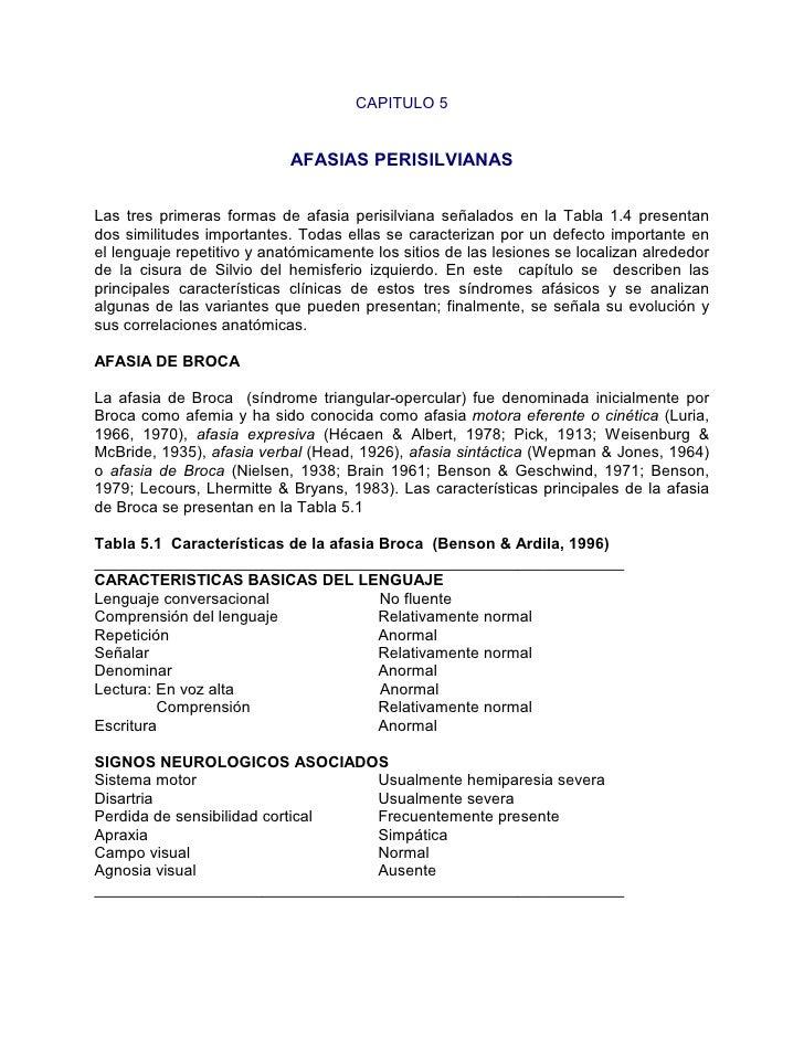 CAPITULO 5                               AFASIAS PERISILVIANAS   Las tres primeras formas de afasia perisilviana señalados...