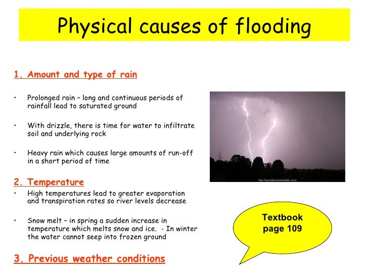 the causes of flood What causes flooding here are a few events that can cause flooding: rains each time there are more rains than the drainage system can take, there can be floods.