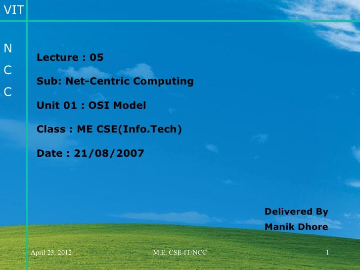 VITN        Lecture : 05C        Sub: Net-Centric ComputingC        Unit 01 : OSI Model        Class : ME CSE(Info.Tech)  ...