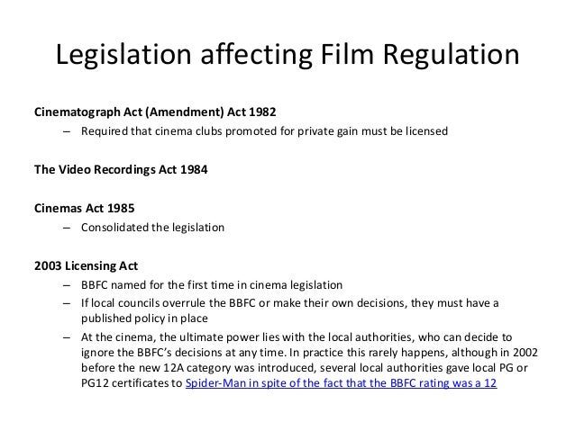 The cinematograph act 1952