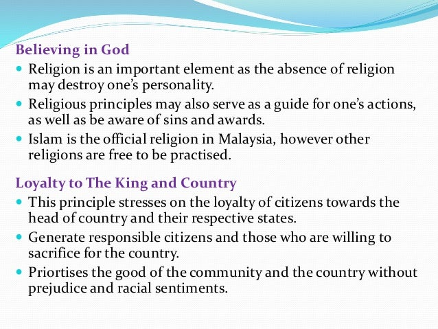 principles of rukun negara essay The rukunegara or sometimes rukun negara (malay for national principles) is the malaysian declaration of national philosophy instituted by royal proclamation on merdeka day, 1970, in reaction to a serious race riot known as the may 13 incident which occurred in 1969.