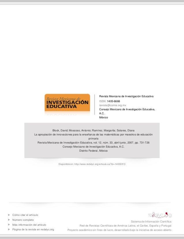 Revista Mexicana de Investigación Educativa ISSN: 1405-6666 revista@comie.org.mx Consejo Mexicano de Investigación Educati...