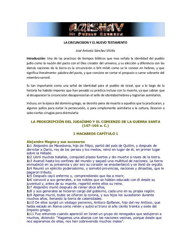 LA CIRCUNCISION Y EL NUEVO TESTAMENTO                                   José Antonio Sánchez VilchisIntroducción: Una de l...
