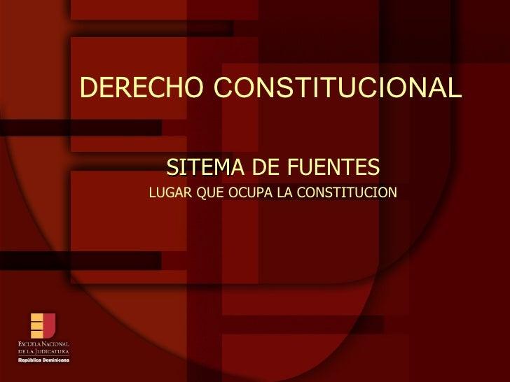 DERECHO  CONSTITUCIONAL SITEM A DE FUENTES LUGAR QUE OCUPA LA CONSTITUCION