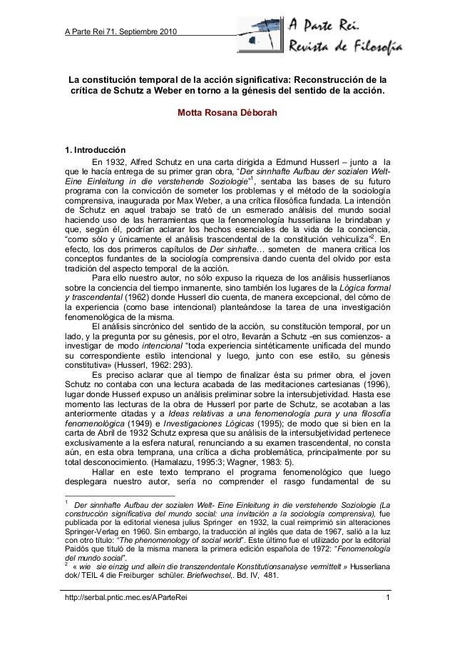 A Parte Rei 71. Septiembre 2010 http://serbal.pntic.mec.es/AParteRei 1 La constitución temporal de la acción significativa...