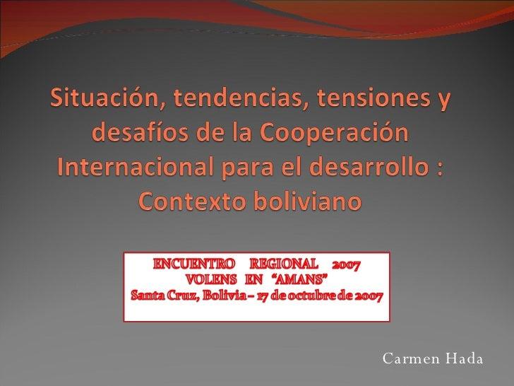 La cooperación internacional para el desarrollo: el contexto Boliviano - Parte II