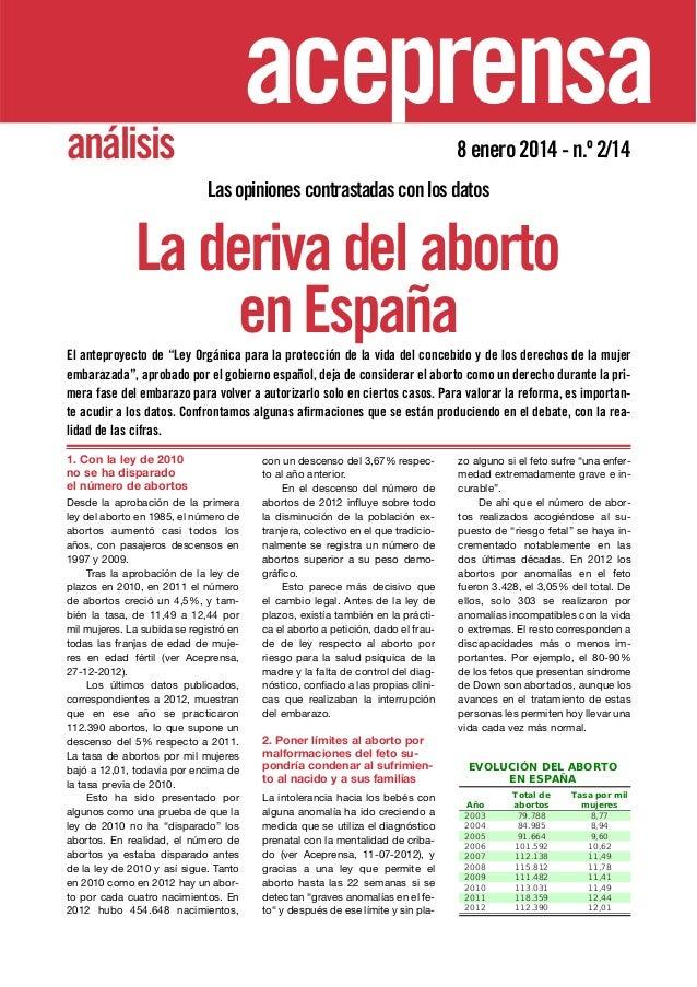 aceprensa análisis  8 enero 2014 - n.º 2/14 Las opiniones contrastadas con los datos  La deriva del aborto en España El an...