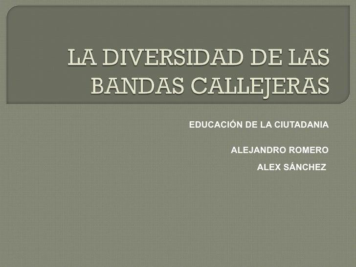 EDUCACIÓN DE LA CIUTADANIA ALEJANDRO ROMERO ALEX SÁNCHEZ