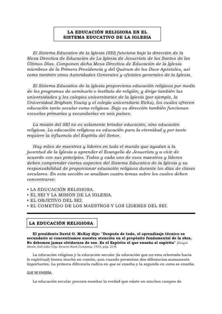 LA EDUCACIÓN RELIGIOSA EN EL                          SISTEMA EDUCATIVO DE LA IGLESIA      El Sistema Educativo de la Igle...