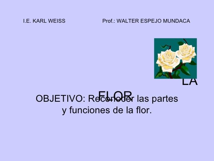 LA FLOR OBJETIVO: Reconocer las partes y funciones de la flor. I.E. KARL WEISS Prof.: WALTER ESPEJO MUNDACA