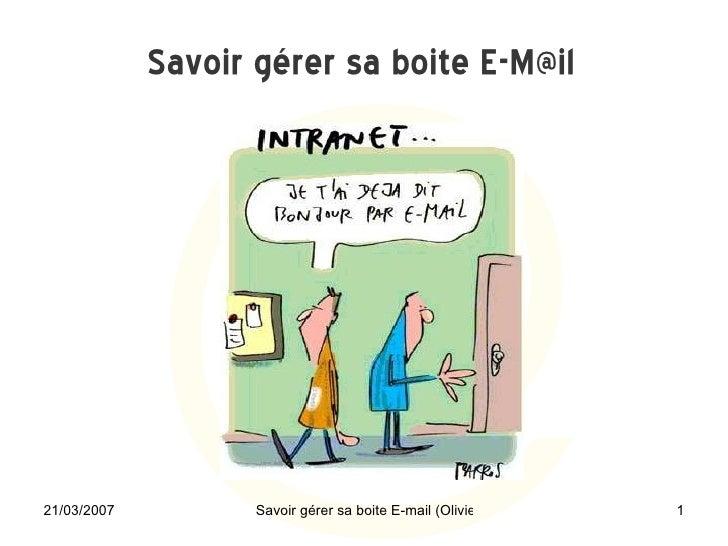 La gestion d'une boite e-Mail