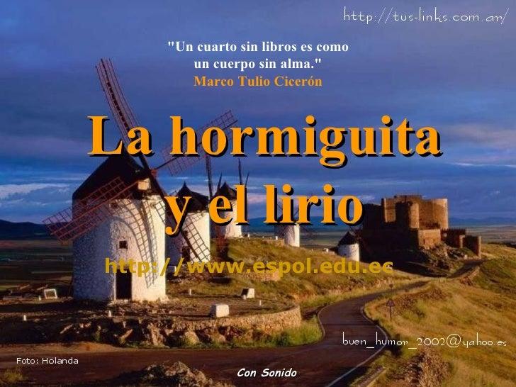 """""""Un cuarto sin libros es como un cuerpo sin alma."""" Marco Tulio Cicerón Con Sonido La hormiguita y el lirio http ..."""